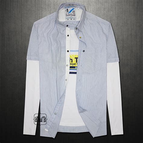 Celio Light Blue Striped Shirt With Underlying Attached